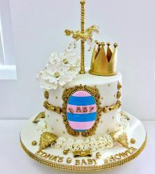 Elegant Merry-Go-Around Theme Baby Shower Cake.JPG