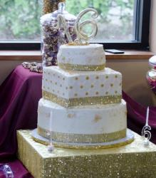 Sweet 16 Birthday Cake In 3 Tiers And Gold TrimJPG