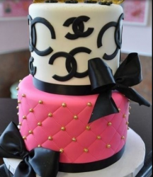 Classic Chanel patterns with Chanel logs cake.PNG