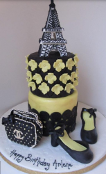 Paris theme cake with Chanel purse and shoes.PNG