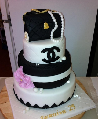 Black and white Chanel birthday cake with three tiers and large cake Chanel purse cake topper and neckles.PNG