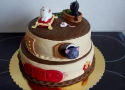 Cute Cat Theme 2 Tier Birthday Cake.JPG