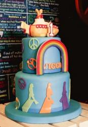 Peace and Rainbow Theme First Birthday Cake in 2 Tiers.JPG