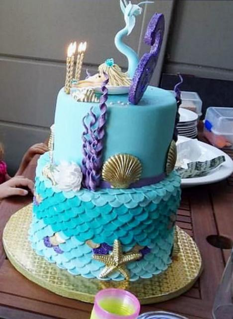 Stupendous Aquatic Theme 7Th Birthday Cake For Girls In 2 Tiers With Golden Personalised Birthday Cards Akebfashionlily Jamesorg