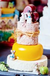 3 Tier Cheese Wheel & Mouse Theme Wedding Cake with Cute Bride Groom Mice Toppers & Red Heart.JPG