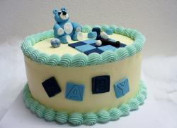 Cute Baby Shower Cake with Teddy Bear Marble & Quilted Patches.JPG