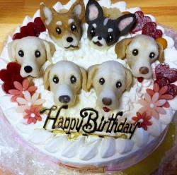 Cute Dog and Puppy Theme Birthday Cake.JPG