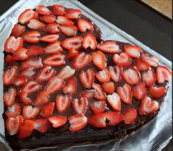 Homemade Valentine's Day Chocolate Cake in Heart Shape  with Fresh Strawberry.JPG