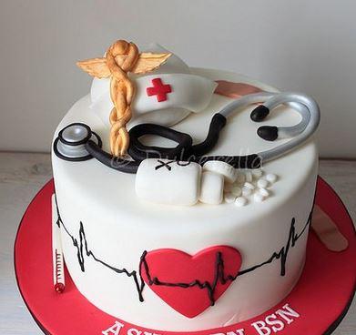 Nurse Graduation Cake With Nurse Theme Cake Toppers