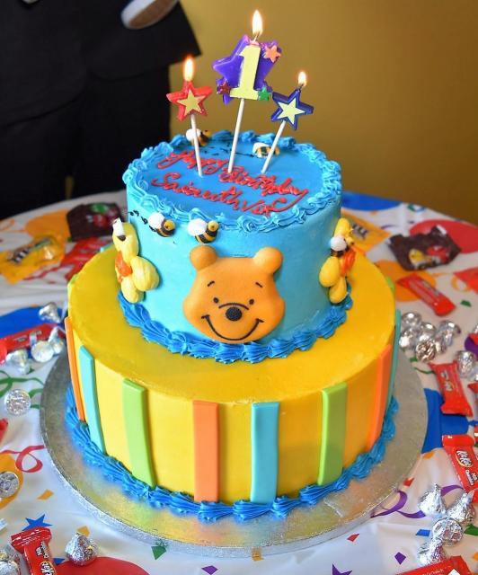 Winnie The Pooh Theme 2 Tier First Birthday Cake