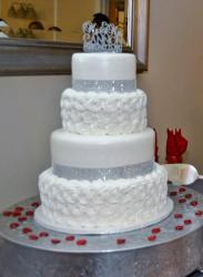 4 Tier White Wedding Cake with Tiffany Crystals Topper.JPG