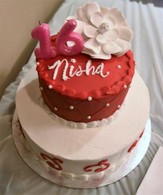 Sweet 16 Birthday Cake in Red and White.JPG