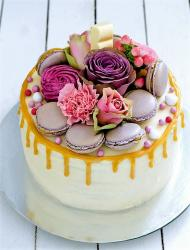 Macaroons Cookies Cake with Floral Decor.JPG