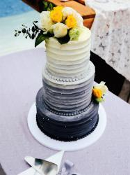 3 Tier Wedding Cake in White and Indigo with Fresh Roses Toppers.JPG