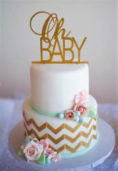 2 Tier Baby Shower Cake with Gold Trim and Topper.JPG