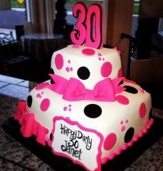 30th Birthday for Women in 2 Tiers with Pink Bow.JPG