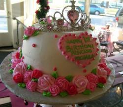 Princess happy birthday white cake with pink flowers and tiara.JPG