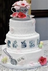 3 Tier Alice in Wonderland theme cake with Teacup Topper Flowers & Stopwatch