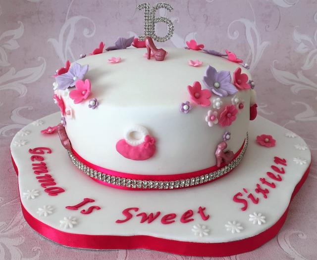 Sweet 16 Birthday Cake With Flowers High Heel Shoes And