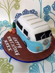 Retro Volkswagen Van Birthday Cake with Plants