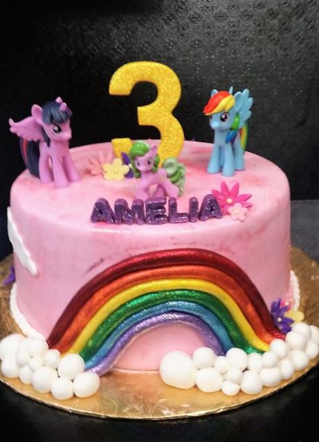 My Little Pony Theme Pink Birthday Cake For 3 Year Old Girl With Golden Number