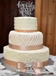 Elegant Ivory 3 Tier Wedding Cake with Happily Ever After Topper