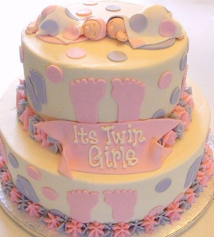 Picture of Baby shower cake for twin girls in 2 tiers
