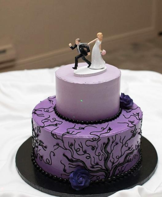 Lavender 2 Tier Wedding Cake with Funny Toppers of Groom Trying to Escape Bride