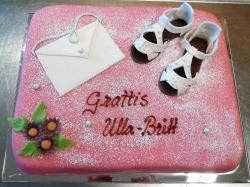 Pink Birthday Cake for Women with Shoes & Envelope