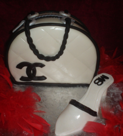 Chanel purse and shoes cake with touches of black