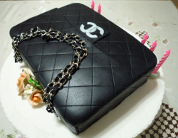 Classic Chanel purse cake with white Chanel logo