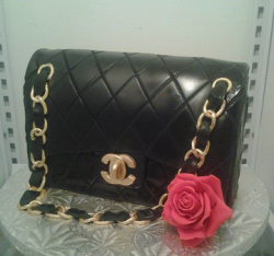 Real looking Chanel purse cake with gold details