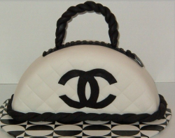 White Chanel purse cake with touches of black