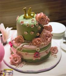 Sweet 16 Birthday Cake in 2 Tiers with Pink Roses & Pearls