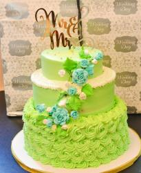 Green 3 Tier Wedding Cake with Mr & Mrs Topper