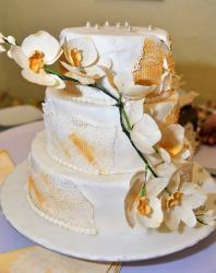 3 tier White Wedding Cake with Orchid & Mirror Beads