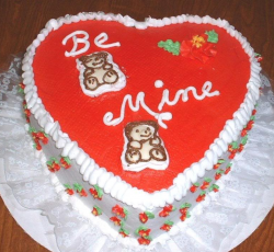 Be mine cake for valentine in heart shape with teddy bears topper.PNG