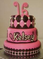 Pink 3 tier Sweet 16 birthday cake.JPG