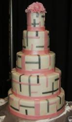 Five tier white wedding cake with modern lines in pink and black.JPG