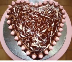 Chocolate valentine cake with light pink cake decor.PNG