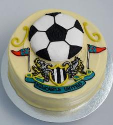 Newcastle United football soccer cake.JPG