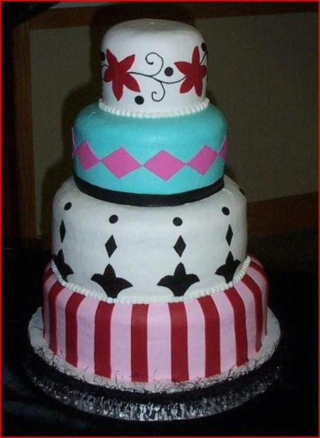 Funy candy striped wedding cake with other pattern layers.jpg