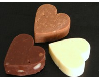 Heart shaped Valentine Chocolate Fudge in light chocolate, dark chocolate and white chocolate.PNG