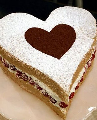 Modern valentines day cake with heart shape.PNG