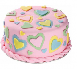 Pink valentine cake with colorful cake decoration with heart shapes.PNG