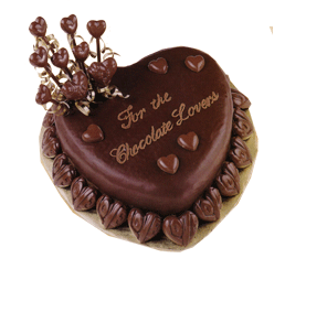 Rich chocolate valentine cake with chocolate cake decoration.PNG