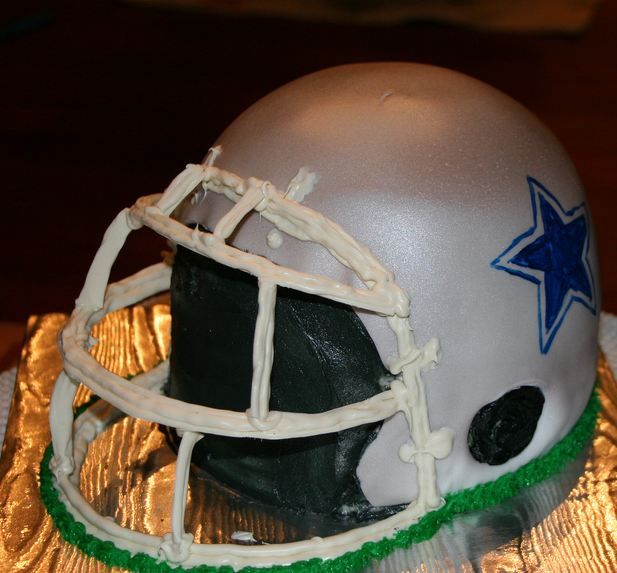 Dallas Cowboys football helmet cake.JPG