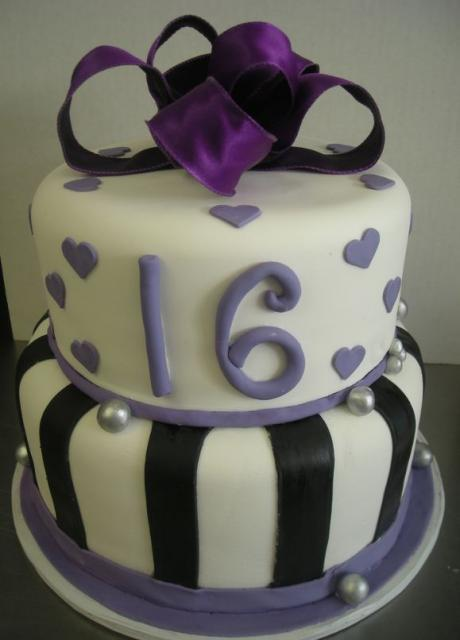 Two Tier Sweet 16 Cake With Purple Bowtie