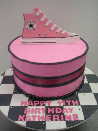 Pink Converse shoe birthday cake for 11 year old.JPG