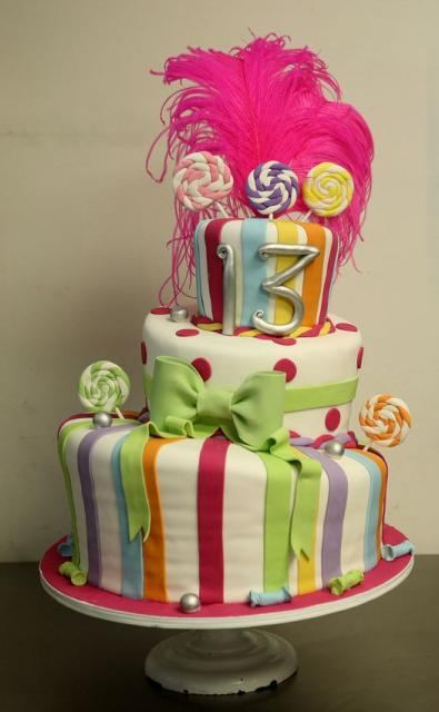 Three tier topsy turvy 13th birthday cake with swirl candy pop theme.JPG